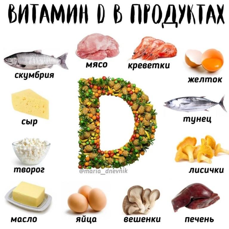 В каких продуктах содержится витамин д в большом количестве: таблица, список, где его можно найти