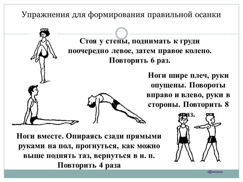 Картотека по физкультуре на тему: упражнения для формирования правильной осанки