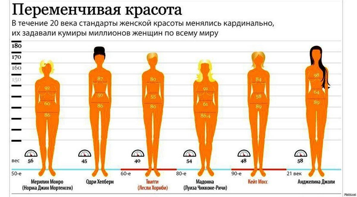 Идеальные пропорции женского тела (таблица)