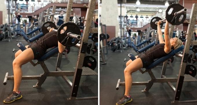 Жим штанги на наклонной скамье— проработка грудных мышц