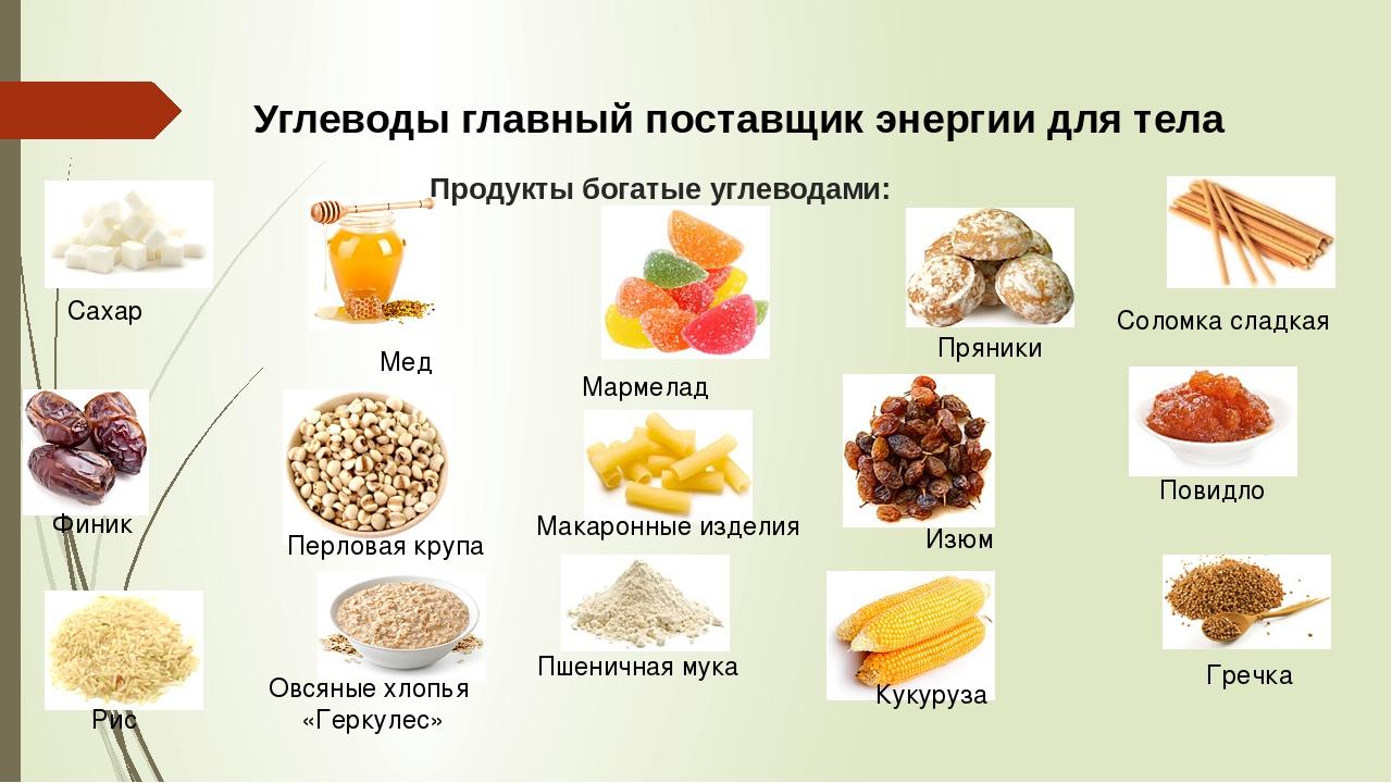 Таблица - содержание углеводов в продуктах питания | диетолог.ру