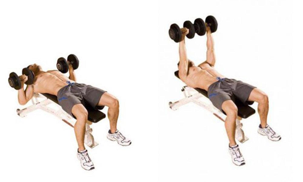 Разводка гантелей лежа на наклонной скамье: техника для верха грудных мышц
