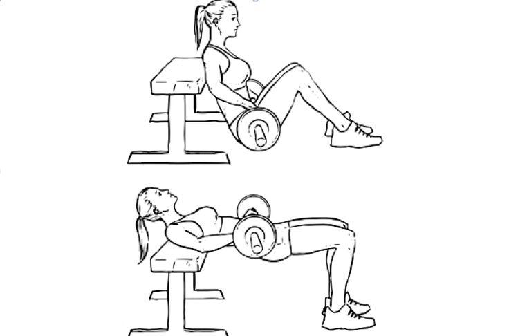 Подъем таза лежа на спине: вариант выполнение с штангой и от пола