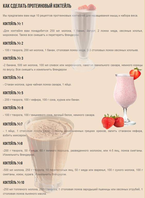 Как приготовить белковый коктейль для набора мышечной массы: домашний рецепт
