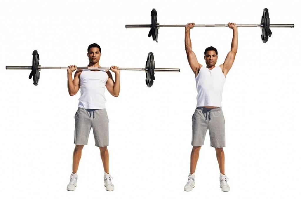 Жим штанги стоя. обзор упражнений из-за головы и от груди