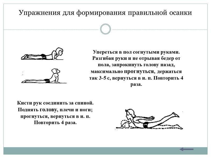 Упражнения для формирования правильной осанки картотека по физкультуре на тему
