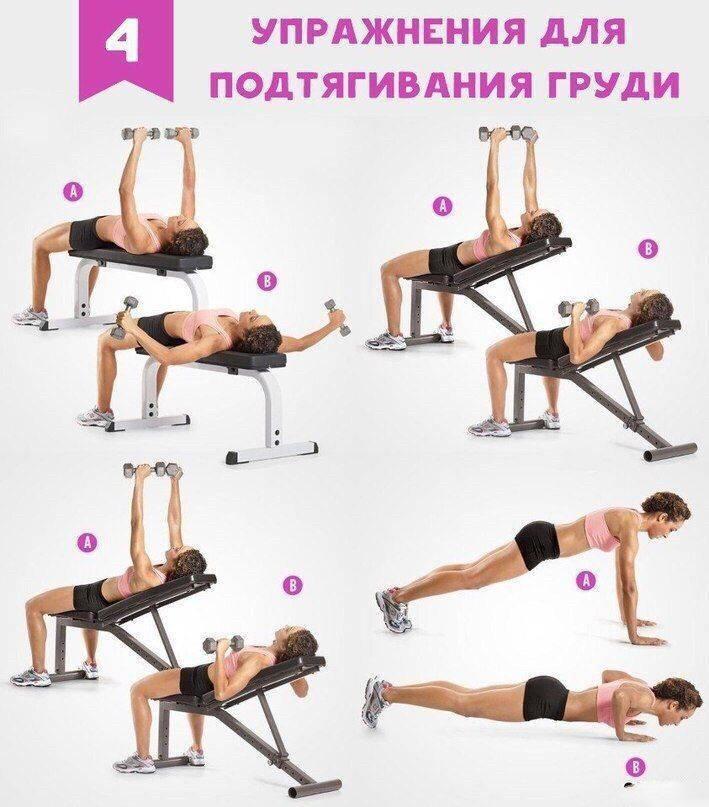 Упражнения для грудных мышц для девушек: комплекс для подтяжки и увеличения мышц груди для женщин в домашних условиях