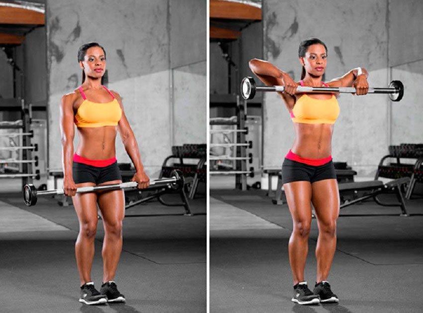 Как правильно делать тягу штанги к подбородку (протяжку)
