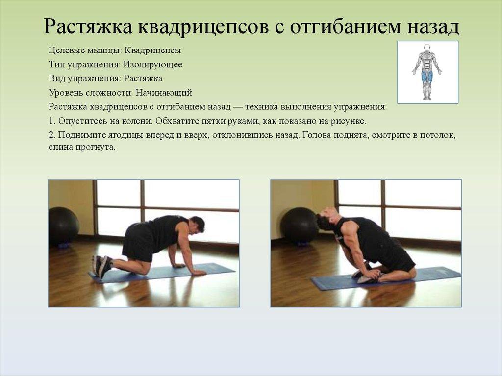 Растяжение мышц передней поверхности бедра