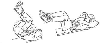 Подъем ног лежа на наклонной скамье