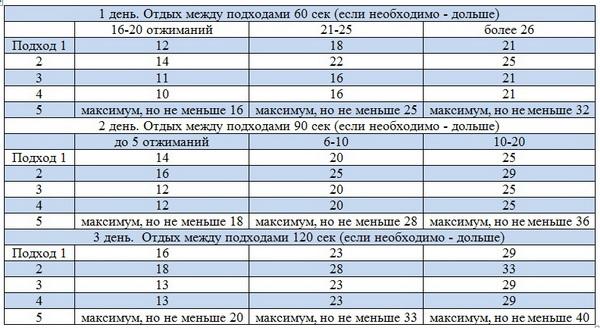 Программа 100 отжиманий - расписание на 6 недель | fitburg.ru