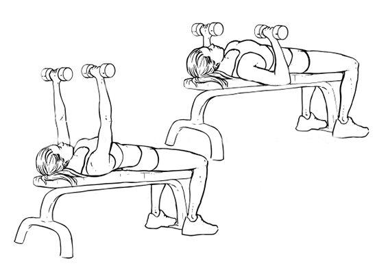 Жим гантелей лежа на полу - пошаговая техника выполнения