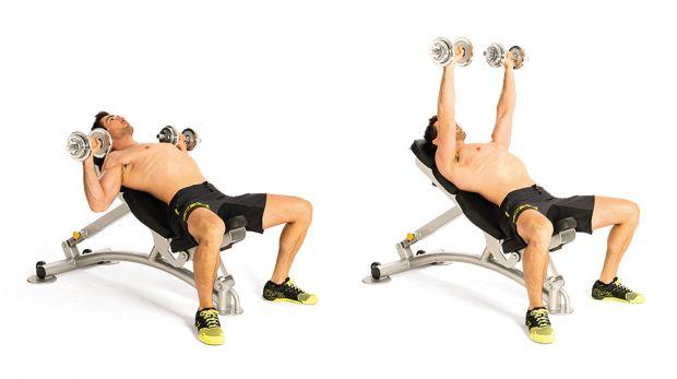 Разведение гантелей лежа на наклонной скамье: техника под углом 30 и 45 градусов