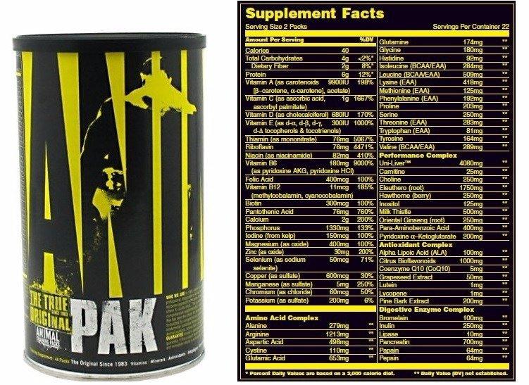 Состав, схема приема и побочные эффекты витаминов animal pak от universal nutrition