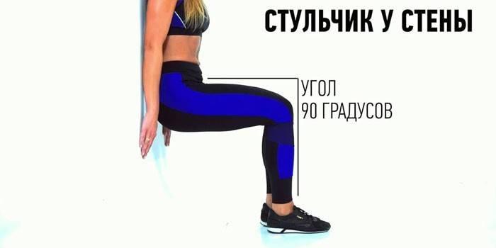 Упражнение стульчик - как правильно делать и какие мышцы работают при приседаниях у стены