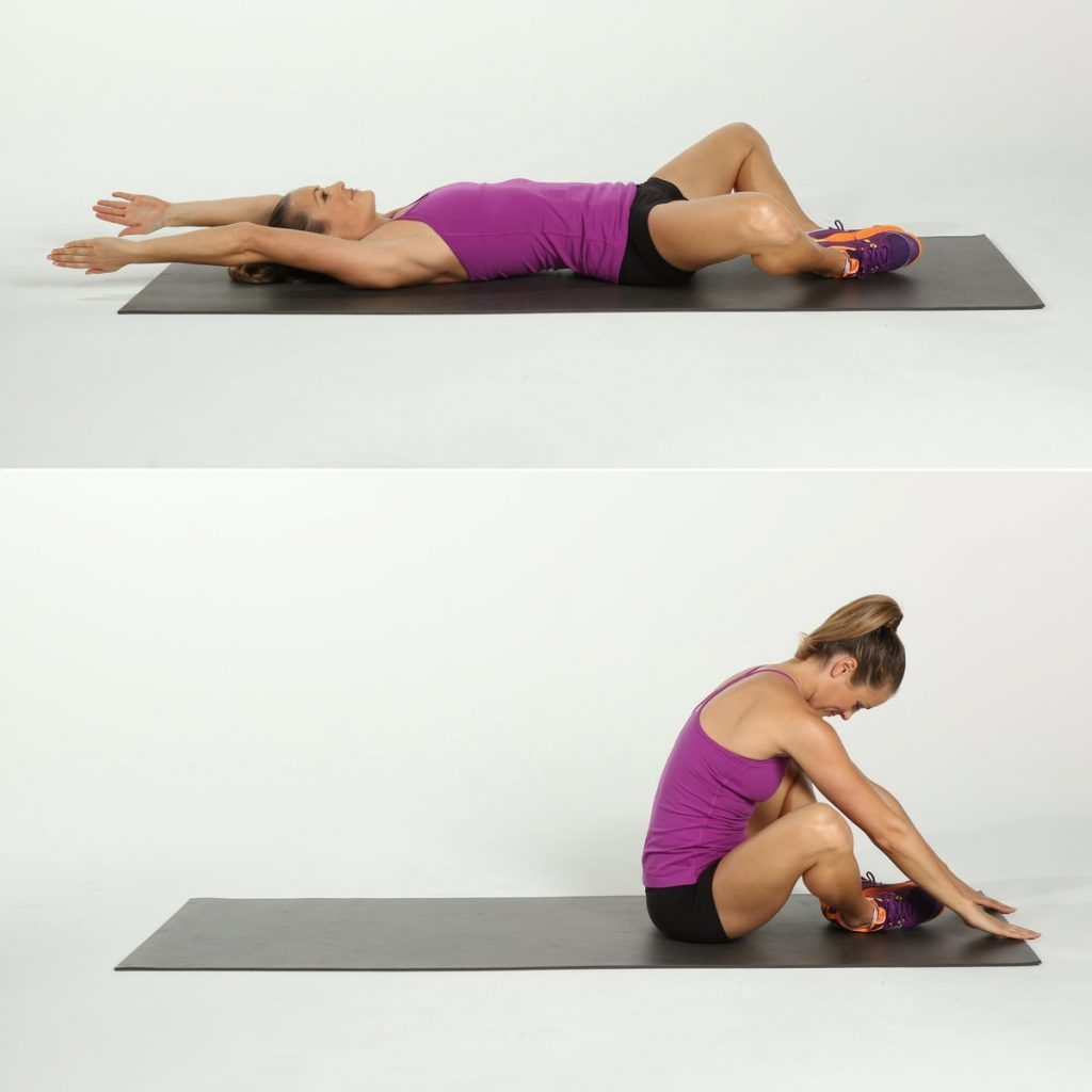 Прямые скручивания: техника кранчей лежа на полу для женщин и мужчин