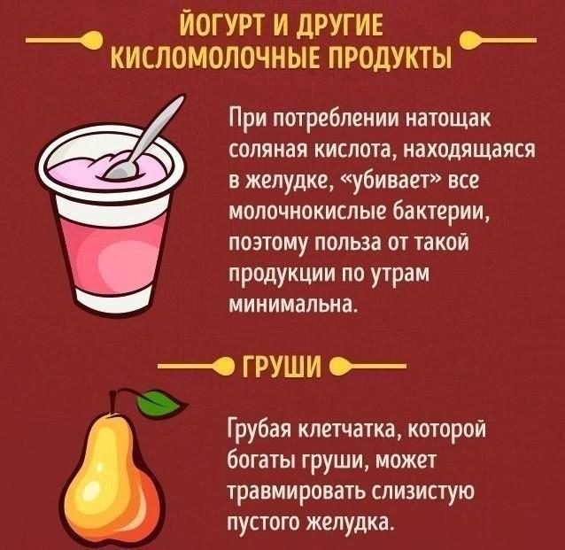 Продукты которые нельзя употреблять на голодный желудок
