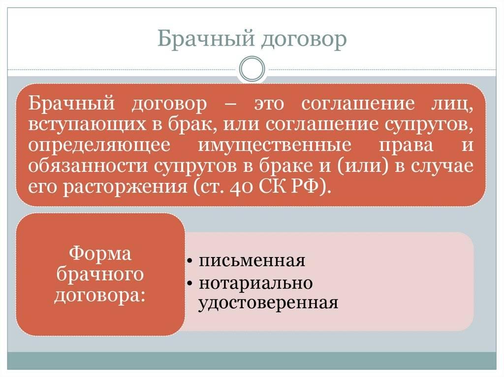 Брачный договор в российском законодательстве