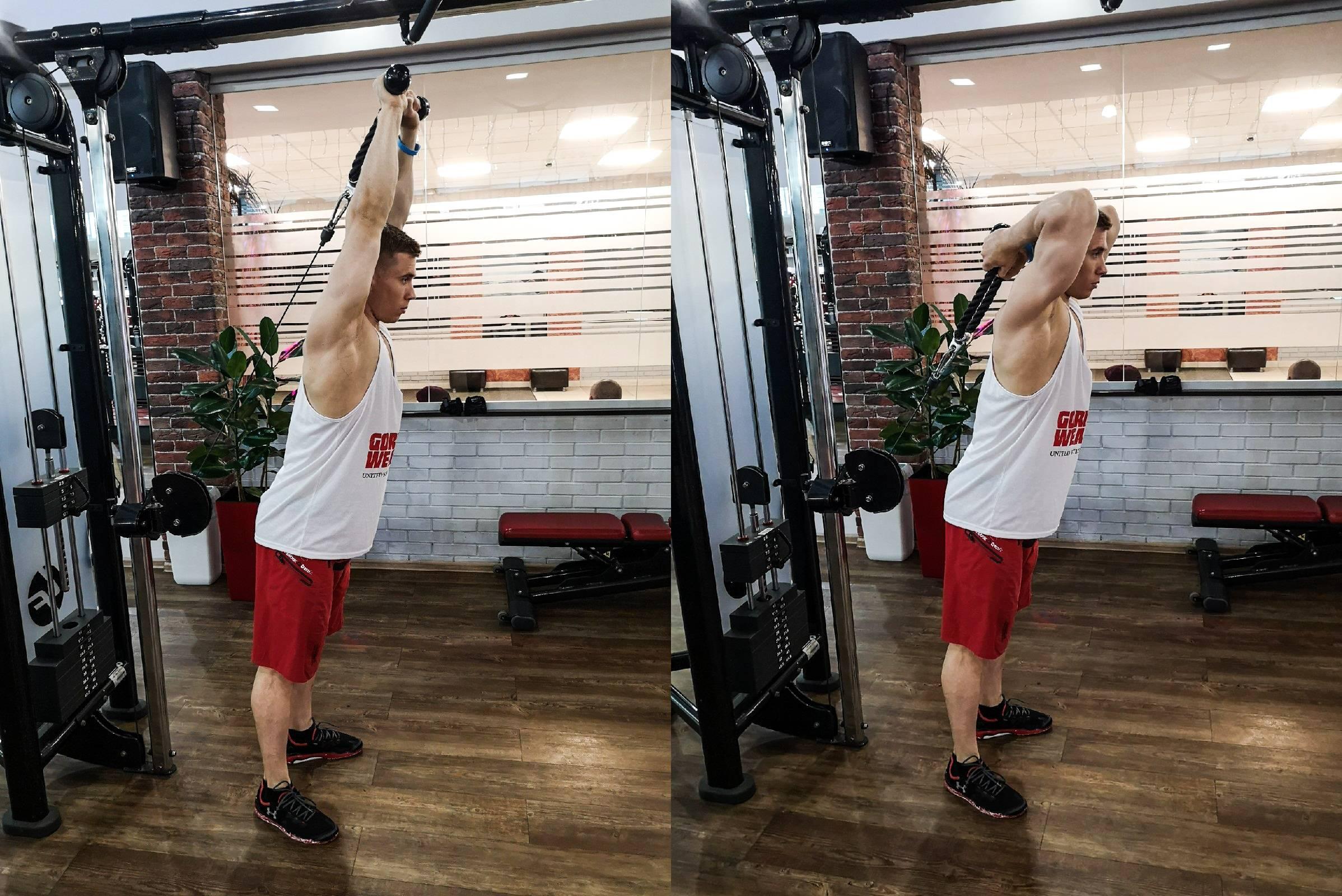 Разгибание рук на блоке (в кроссовере)! прекрасное упражнение для изолирующей проработки трицепса
