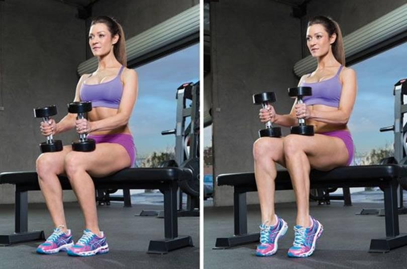 Зашагивание на скамью с гантелями в руках (платформу или лавку) — отличное упражнение для ягодиц и ног