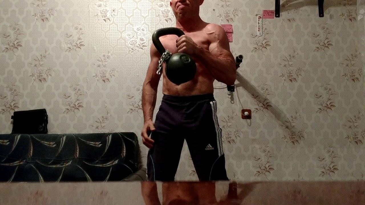 Упражнения с гирей: как накачать бицепс весом 16 кг