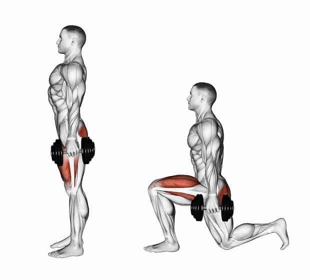 Выпады со штангой на плечах: фото и видео упражнения