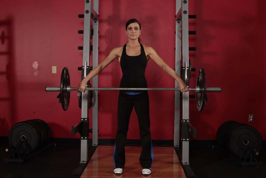 Шраги со штангой стоя: какие мышцы работают, техника выполнения