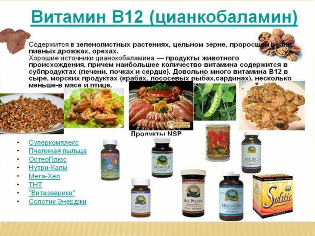 Витамин в12: в каких продуктах содержится и в чем его польза